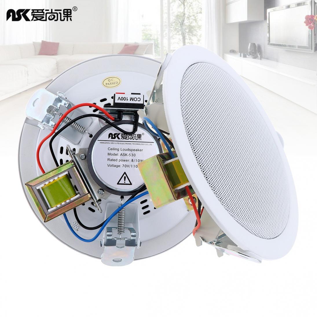Alto-falante de Música de Fundo de Transmissão Pública para Casa Polegada Entrada Usb Mp3 Player Teto – Supermercado Ask-530 5 10 w