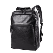 Korean Style Designer Casual Black Backpack Men Top Quality PU Laptop Bag Fashion Zipper Travel Bag Ladies Simple Daypack(China)