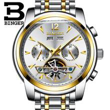 2017 NEW arrival BINGER men's watch full Calendar Tourbillon sapphire multiple functions Water Resist Mechanical clock B8608M5