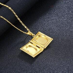 Image 3 - Gold Farbe Islam Allah Muslimischen Halskette Quran Koran Buch öffnende Box Anhänger Mit Kette Muhammad Religion Schmuck Geschenk