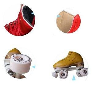 Image 5 - 원래 골든 호스 전문 롤러 스케이트 두 라인 신발 더블 행 스케이트 PU 휠 쇠가죽 채찍으로 치다 가죽 플라스틱 강판