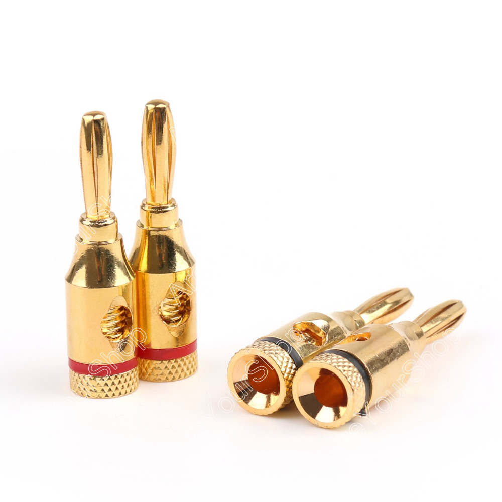 Areyourshop Gold Plated Banana Plug Connector for Musical Audio Speaker Cable Wire 4mm 50 Pcs/Lot Free Shipping mpsource tena hi end 99 99997% occ 24k gold plated banana speaker connector plug bi wire speaker audio cable amplifier 1 pair