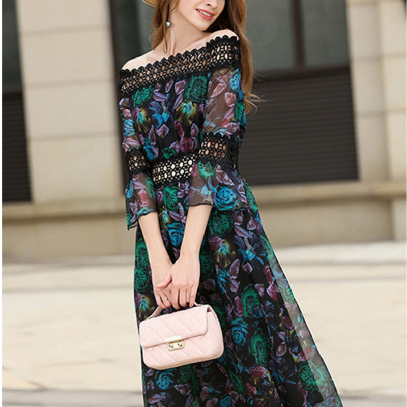 2018 Summer Women Maxi Boho Floral Dress Off Shoulder  Holiday Long Beach Dress Vestidos Party Lace Dresses