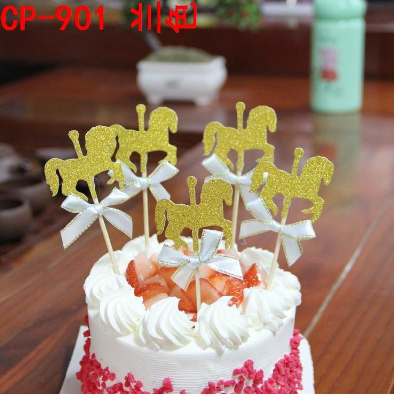 Peachy 30Sets Horse Pattern Bake Dessert Cake Flags Picks Baby Shower Personalised Birthday Cards Veneteletsinfo