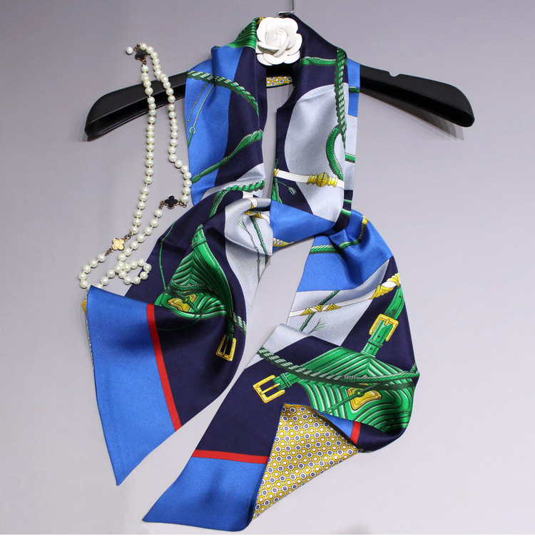 Scarf Women 100 Pure Silk Long Collar Rings Scarves Bag Scarf Headband Hairband Double Layer Printing