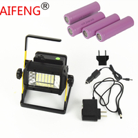 50w 2400lm Waterproof IP65 Led Flood Light Portable Spotlights Rechargeable T6 18650 Car Charger With Battery