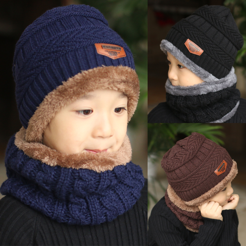 2c2e0fdbb0e Detail Feedback Questions about Children Boys Winter Knitted Beanie Hat and Scarf  Set Toddler Kids Warm Fleece Mask Balaclava Cap on Aliexpress.com ...
