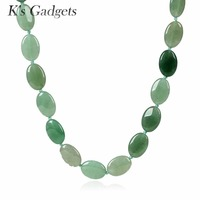 Green Stone Necklaces & Pendants Oval Natural Stone Collar Handmade Beaded Rope Chain Statement Necklace For Women Accessories