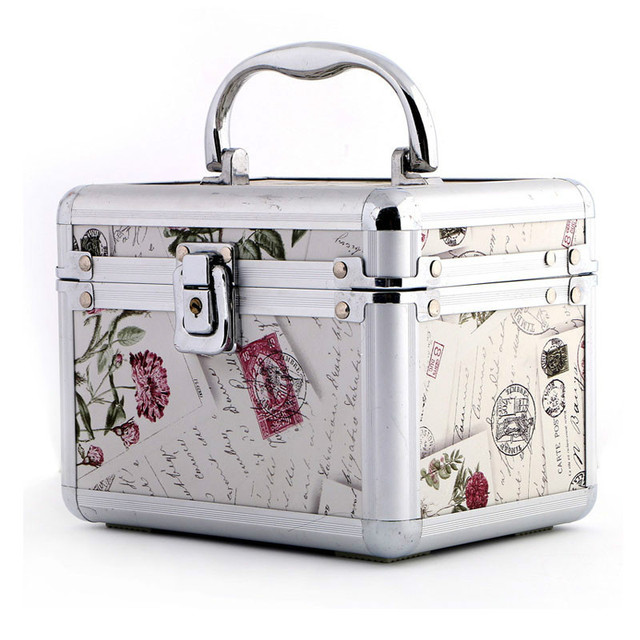 91636419a0 Women Professional Aluminum Makeup Case Portable Travel Jewelry Train Case  Cosmetic Organizer Case Box With Mirror Beauty Case