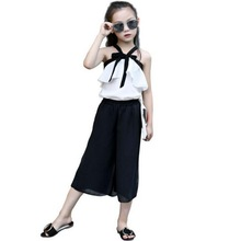 2018 Girl Sexy Summer Clothes Set Halter Strapless Vest Wide Leg Pants 2 ps Chiffon Clothing baby Fashion 3-12Y