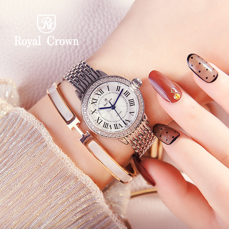 Lady Women's Watch Japan Quartz Crystal Clock Fashion Fancy Dress Bracelet Luxury Party Girl Birthday Gift Royal Crown fashion modern silver crystal flower quartz pocket watch necklace pendant women lady girl birthday gift relogio de bolso antigo