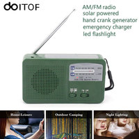 DOITOP Protable FM AM Radio Solar Hand Crank Powered Emergency Charger Phone Charger With LED Flashlight