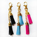 2016Golden chains Tassel Key Ring Leather Tassel Key Chain 2 Layers Velvet Tassel Keychains Carabiner Women Bag Charming Pendant