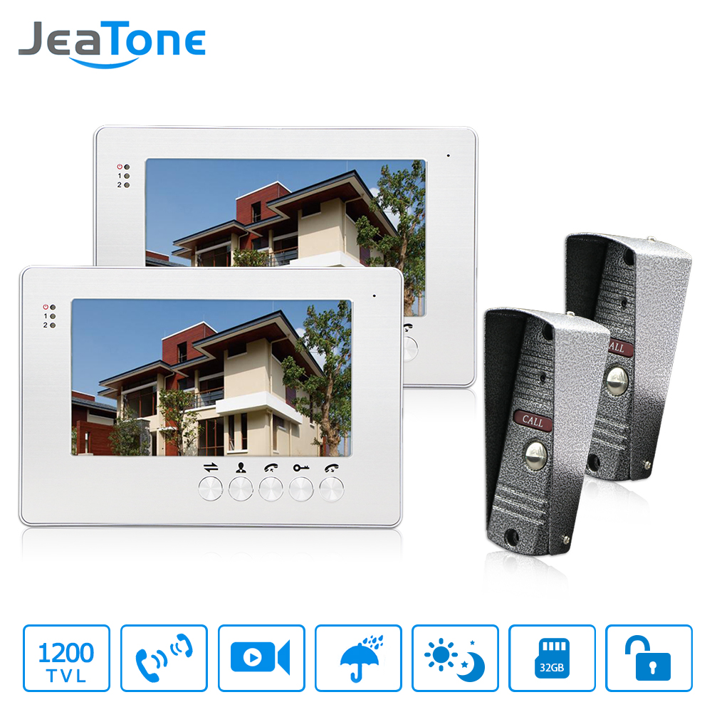 JeaTone 7 Video Intercom Video Door phone Silver Monitor With IP65 Outdoor Pinhole Camera Visual Doorbell Intercom System jeatone new 7 inch video doorbell monitor intercom with 1200tvl outdoor camera ip65 door phone intercom system