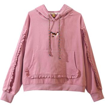 Ruffles Pink Khaki Hoodies & Sweater