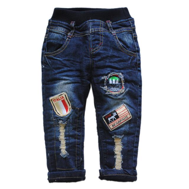 6035 CÁLIDA lana gruesa de invierno pantalones vaqueros del bebé de los bebés jeans denim + fleece niños moda de nueva azul marino agradable