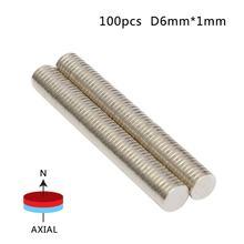 100 pces 6mm x 1mm atacado forte cilindro ímã de terra rara neodímio granel folha n50 mini pequenos ímãs redondos disco