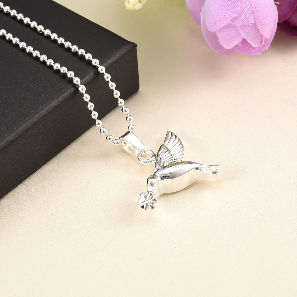 925 Sterling Silver Hummingbird Pet Ash Holder Cremation Urn Necklace Pet Memorial Jewelry for Ashes Human Ash Keepsake Necklace klh9359 dog tag stype my fur angel pet urn necklace for ashes memorial keepsake cremation pendant funnel gift