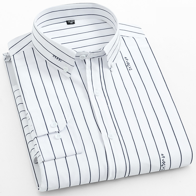 2019 Men Shirt Long Sleeved Male Striped Formal Business Shirts Brand Work Shirt Man Party Cloths New Arrival