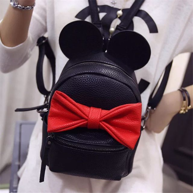 Lovely girl fashion new Female bag High Quality Pu leather Women backpack Mickey ears sweet bow College Wind  School backpack