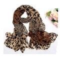 Женская мода шифоновый шарф Leopard Шарфы тонкие узорные животных печати любимый супер звезда шаль оптовая