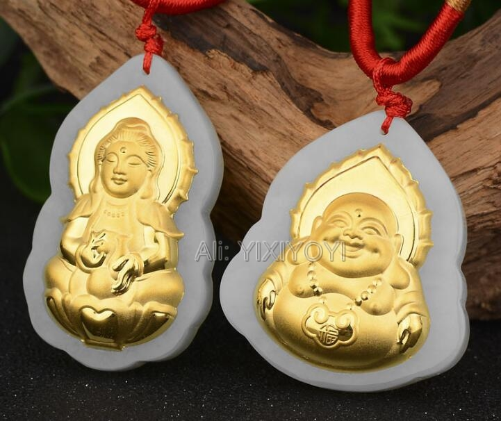 Natural White Hetian Jade + 18K Solid Gold Chinese Blessing Buddha GuanYin Amulet Lucky Pendant + Free Necklace Fine JewelryNatural White Hetian Jade + 18K Solid Gold Chinese Blessing Buddha GuanYin Amulet Lucky Pendant + Free Necklace Fine Jewelry