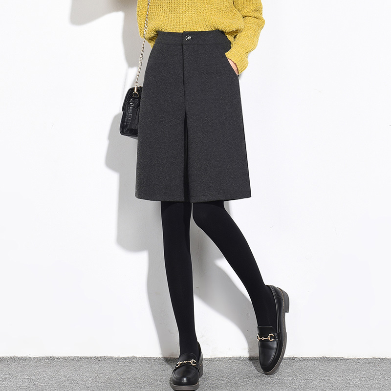 Wool Warm Woolen Shorts For Women Autumn Winter Shorts Women High Waist Shorts Buttons  Pockets Gray Black Casual Fashion