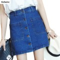 New Spring Fashion A-Line Skirt For Women Single-Breasted Solid Denim Faldas Mujer All Match Lady Slim Bag Hips Ropa Feminine