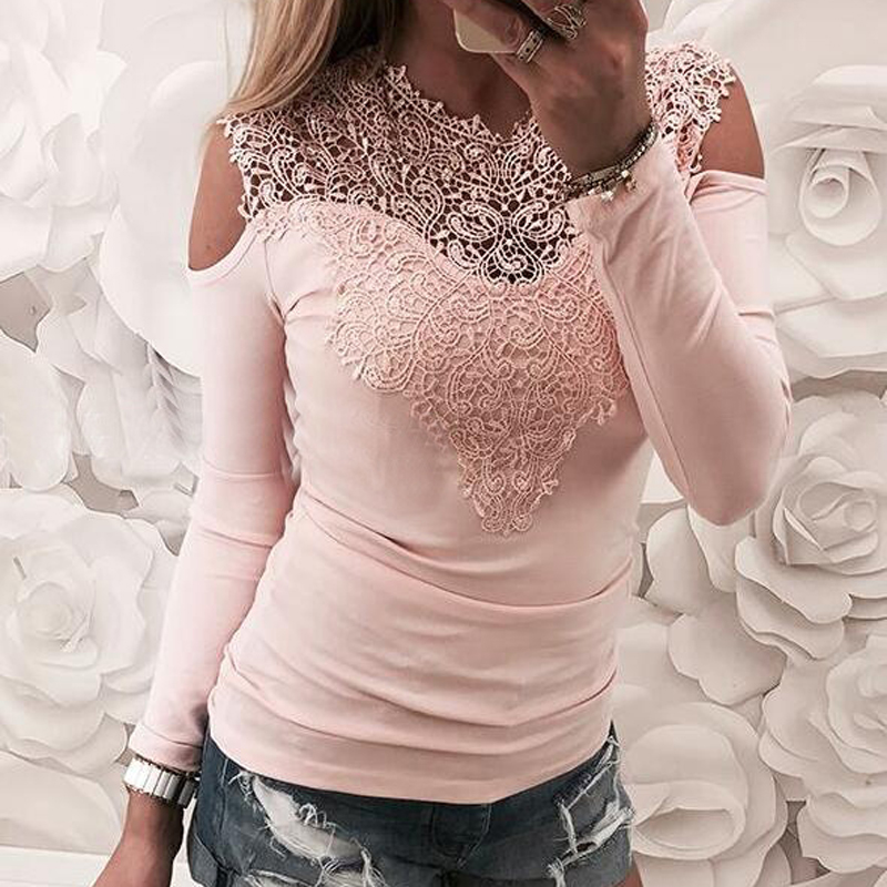 Spring Lace Patchwork Plus Size 2019 Female Top Autumn Sexy Tshirt Long Sleeve Women Cold Shoulder T-shirt Slim Jumper Tee GV256