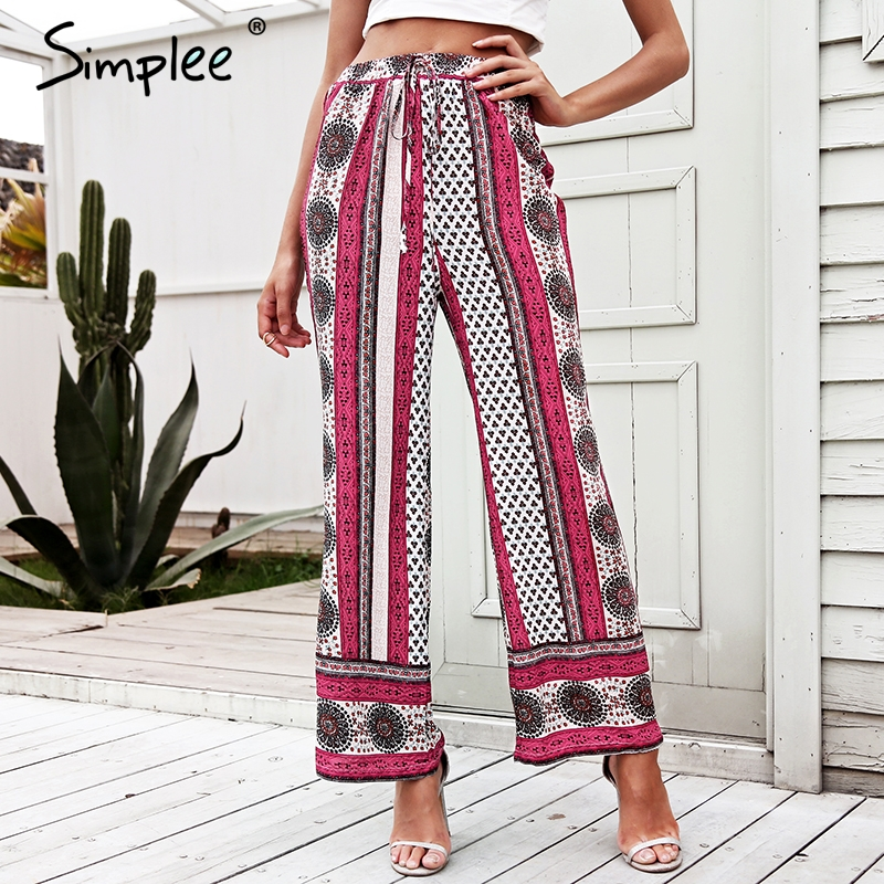 Simplee Ethnic floral print wide leg pants Elastic high waist casual pants women 2018 Su ...