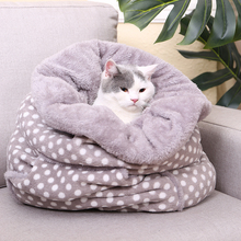 Multi Purpose New Design Pussy Nest Kennel Coral Fleece Pattern Pet Drawstring Warm Thick And Comfortable Kitty Cushion