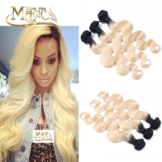 Dark Roots Blonde Hair Weave 7a 613 Blonde Virgin Hair Weave 8 30
