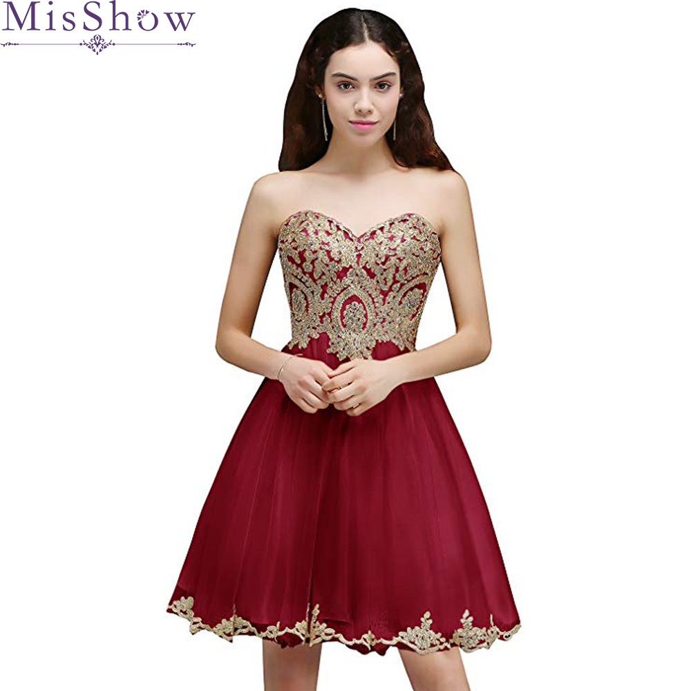 Robe cocktail courte chic 2019 Tulle sexy Strapless knee length burgundy cocktail dresses Beaded cheap Homecoming