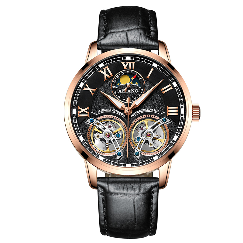 AILANG 8221A Switzerland watches men luxury brand Automatic Double Tourbillon Moon phase Luminous Watch Genuine Leather Watch ailang 8221a switzerland watches men luxury brand automatic double tourbillon moon phase hollow business watch relogio masculino