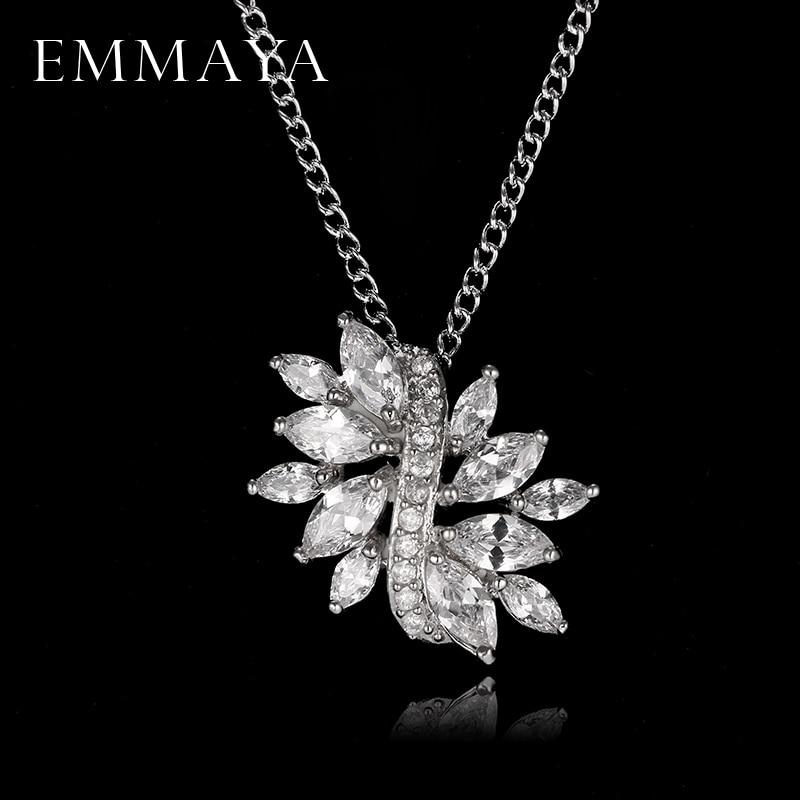 Emmaya Fashion Flower Marquise Cut CZ Pendant Jewelry Necklace Top Quality Korean Crystal Jewelry