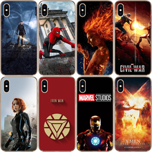Miracle Case For iPhone X XS MAX XR 8 7 6 6S 7Plus 5 5SSE Superhero Iron Man Captain America Black Widow Spiderman Fashion Cover