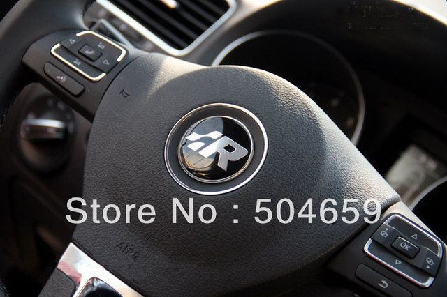 VW GTI WOLFBURGE R ABT Rabbit Crystal Steering Wheel Badge Emblem Sticker Golf MK4 R32 Polo GTi Wolfsburg 45mm Car Accessories