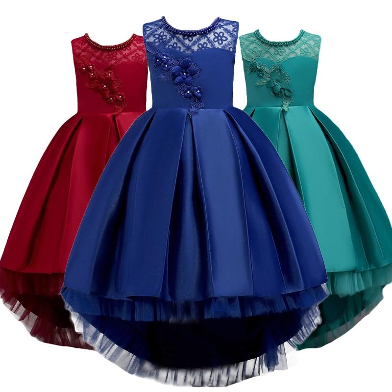 Nacolleo Новое летнее платье для девочек Вечернее платье с длинным хвостом Одежда для девочек Элегантное платье для девочек-цветочков Детские детские платья