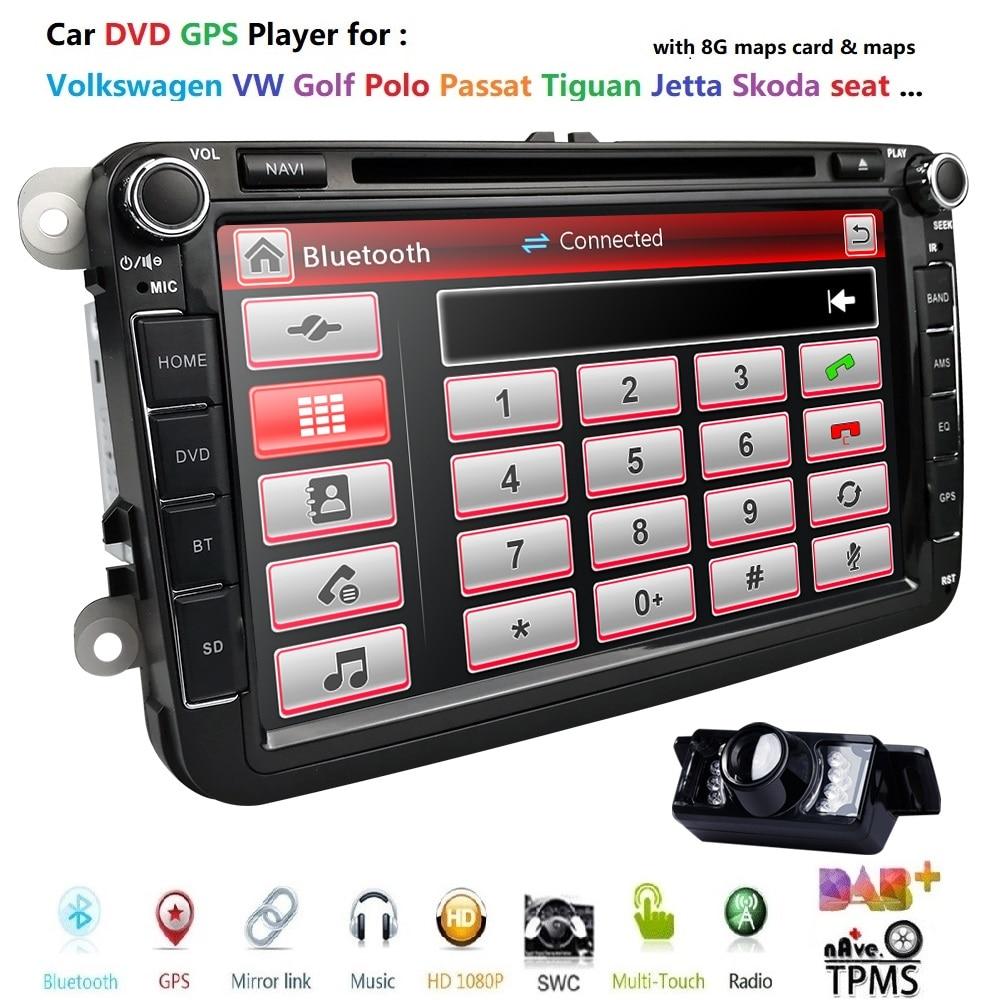 Lecteur radio de voiture DVD GPS de 8 pouces 2din pour Volkswagen V W golf 6 touran passat B7 sharan Lavida polo tiguan DAB + BT carte SWC RearCam