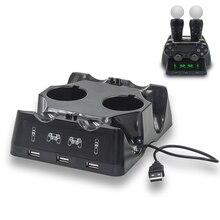 Зарядная станция для PSVR PS4 7 в 1, светодиодная док станция для контроллеров движения Sony Playstation Dualshock 4, геймпад