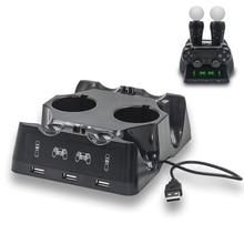 Yoteen für PSVR PS4 Bewegen Motion Controller Ladegerät 7 In 1 Ladestation Dock LED für Sony Playstation Dualshock 4 gamepad