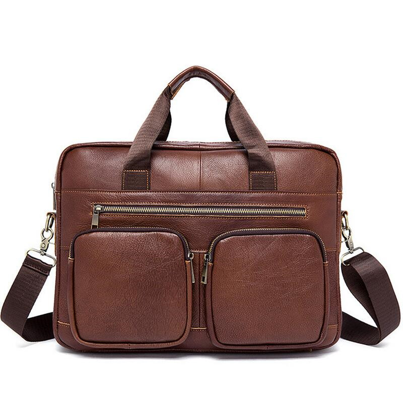 Men's Briefcase Leather Laptop Bag 14'' Genuine Leather Men Bag Men Messenger Shoulder Bags Men's Crossbody Bags Handbags mva genuine leather men bag business briefcase messenger handbags men crossbody bags men s travel laptop bag shoulder tote bags