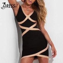 INDRESSME модное женское Полосатое платье с повязкой на бретельках сексуальное облегающее платье с глубоким v-образным вырезом на спине Vestidos новинка