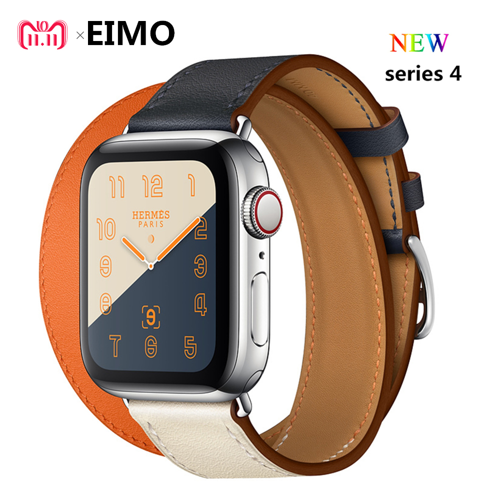 19a334f70ed Leather strap For apple watch band 4 44mm 40mm Hermes Double Tour correa  42mm 38mm watchband ...