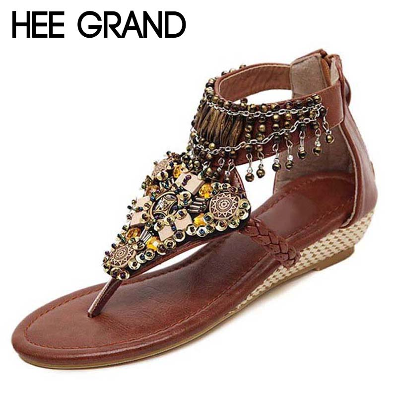 HEE GRAND Bohemia Gladiator Sandals 2017 Summer Wedges Flip Flops Crystal Platform Tassel Casual Shoes Woman Size 35-41 XWZ3462 women sandals 2017 summer shoes woman flips flops wedges fashion gladiator fringe platform female slides ladies casual shoes