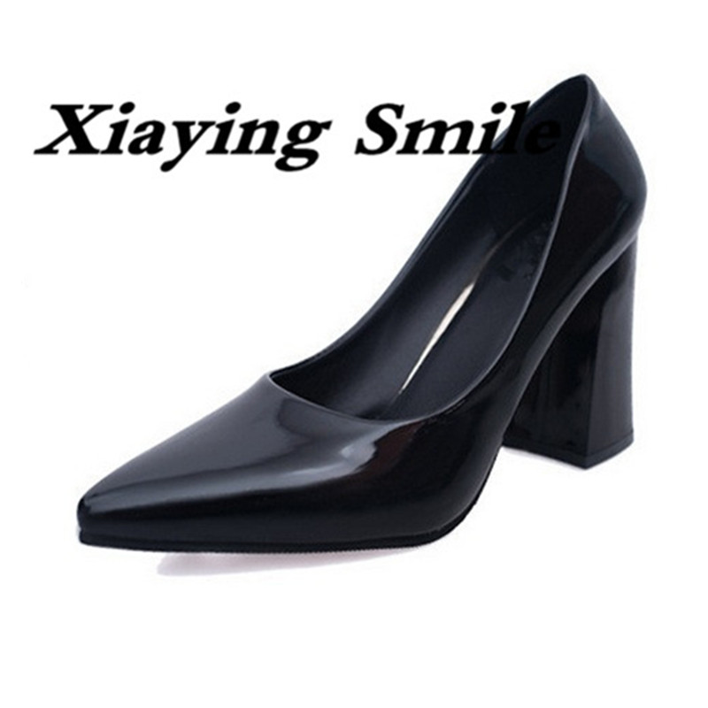 Xiaying Smile Spring Autumn Women Pumps British Style Fashion Office Career Ladies Shoes Square Heel Pointed Toe Shallow Pumps xiaying smile woman pumps shoes women spring autumn wedges heels british style classics round toe lace up thick sole women shoes