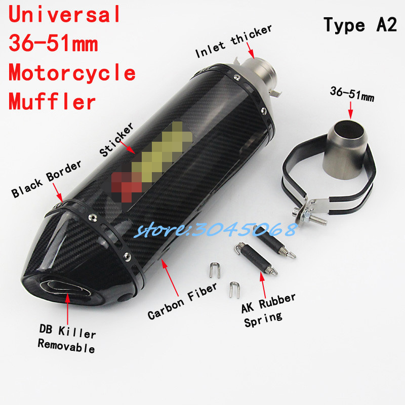 460mm Universal 51mm Motorcycle Exhaust Escape Carbon Fiber Motorbike Muffler With Sticker DB Killer For SUZUKI GSX750R R6 CB400