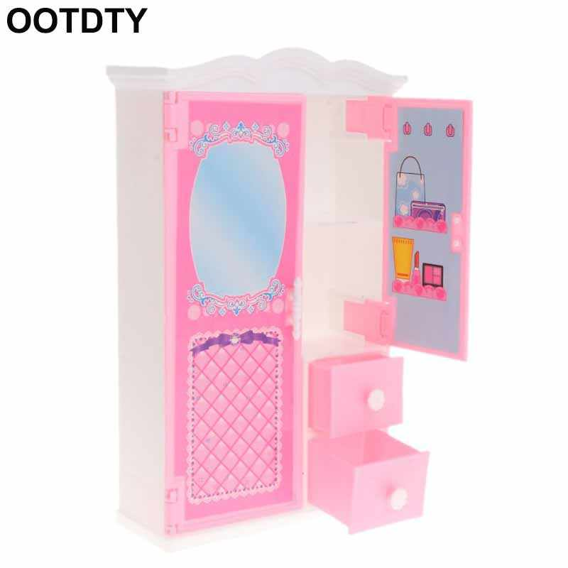 New Closet Toy With Mirror Doll House Princess Bedroom Furniture Wardrobe Doll Accessories For Barbie Dolls Toys Gifts