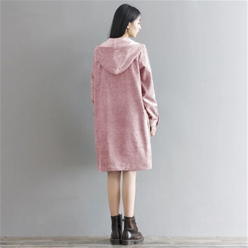 Vestido green Larga De Vintage 2018 Loose Con Nueva Otoño Mujer Primavera Manga Pana Pink Z233 Mujeres Vestidos Capucha Sweatershirts xpq80PI