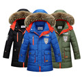 Chaquetas de los niños de Nueva invierno niños espesantes abrigos kids boy moda largas secciones chaqueta de cuello de piel más caliente